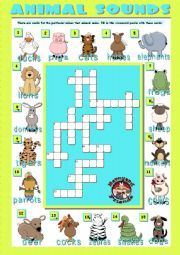 English Worksheets: ANIMAL SOUNDS - Crosswords