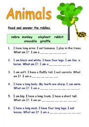 picture regarding Printable Riddles for Kids referred to as Animal riddles worksheets