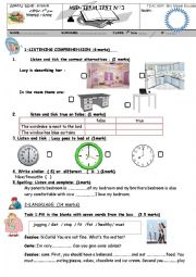 English Worksheet: mid term test 3  for 7TH  form