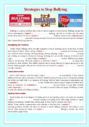 English Worksheet: Strategies to Stop Bullying
