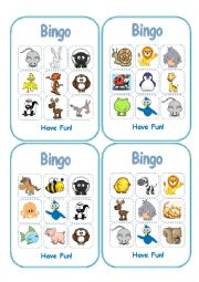 English Worksheets: Animal Bingo (Boards-Part1)