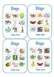 English Worksheet: Animal Bingo (Boards-Part 2)