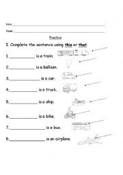 English worksheets: This/That