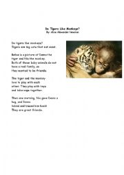 English Worksheets: Do tigers like monkeys?