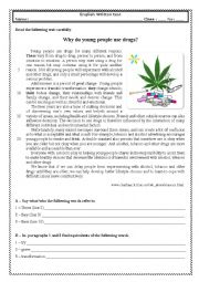 Test 9th grade - Why do young people use drugs?