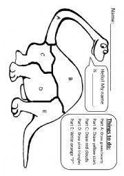 English Worksheet: Flexible dinosaur colouring exercise