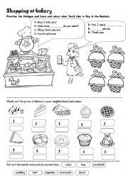 English Worksheet: Shopping at Bakery (Dialogue Practice)