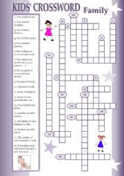 English Worksheet: Kids� Crosswords: Family