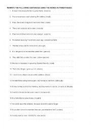 English Worksheets: PEPHRASING EXERCISES