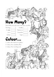 English Worksheets: Wild Animals Count & Colour