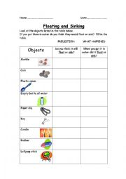Home > general vocabulary worksheets > FLOATING OR SINKING