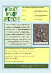 English Worksheet: Reduce, Reuse, Recycle