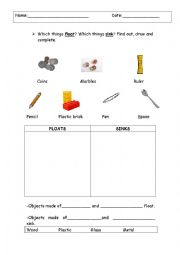 Printables Sink Or Float Worksheet english worksheets float or sink worksheet sink