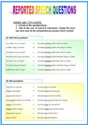 English Worksheets: Reported Speech: questions (part 2/2)