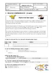 English Worksheet: end of third term test grade 7 tunisian programme