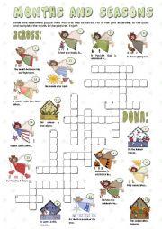 English Worksheet: MONTHS and SEASONS - crosswords