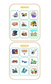 English Worksheet: Bingo about Transportation