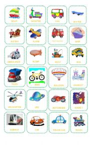 English Worksheet: Bingo about Transportation Teacher�s Board
