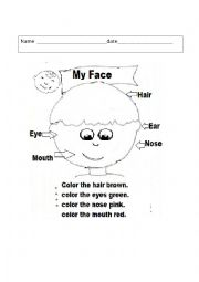 English Worksheets: Colour your face