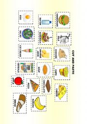 English Worksheet: Food and meals cut and paste