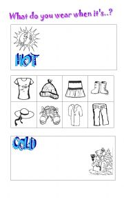 English Worksheet: HOT/COLD