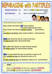 English Worksheets: PARTICIPLE CONSTRUCTIONS  - Rephrasing sentences (+key)