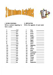 English Worksheets: 2 ten minute activity