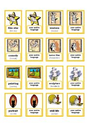 English Worksheet: MEMORY GAME - ART FILM THEATRE - PART 2/3