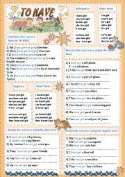 English Worksheet: TO HAVE got