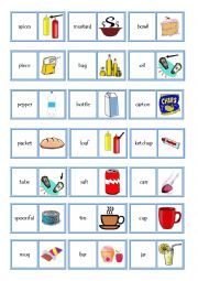 English Worksheet: Spices and quantities domino