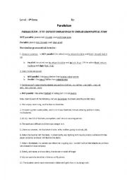 Worksheet Parallelism Worksheet english teaching worksheets 4th form worksheet for parallelism