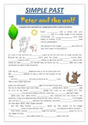 English worksheet: SIMPLE PAST - PETER AND THE WOLF