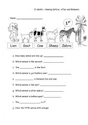English Worksheet: Naming before, after and between