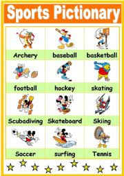 English Worksheet: Sports Pictionary with wonderful Disney Pictures - 2003