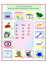 Consonant Blends Matching Worksheet