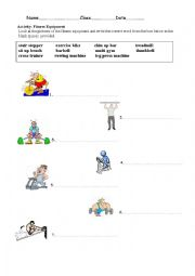 English Worksheet: Fitness Equipment