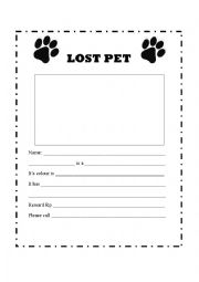 English Worksheets: Lost Pet Poster