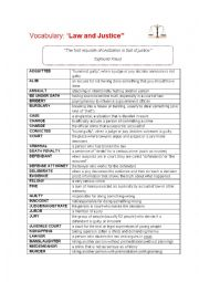 English Worksheet: Vocabulary: Law and Justice