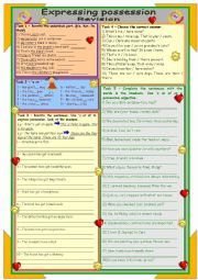 English Worksheet: Expressing possession ** Revision ** for intermediate ss ** 2 pages ** 9 tasks ** with key ** fully editable