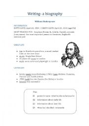 English Worksheets: How to write- a biography