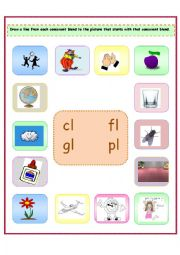 4 consonant blends cl fl gl pl esl worksheet by liati