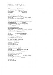 English Worksheet: On My Way lyrics - Phil Collins