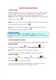 English Worksheets: Matter and MAterial