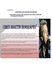 English Worksheets: COLDPLAY�S LEAD SINGER CHRIS MARTIN AND GWYNETH PALTROW BIOGRAPHIES