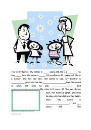 English Worksheets: Family information gap
