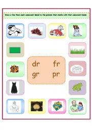 consonant blends: dr/fr/gr/pr