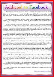 English Worksheet: ADDICTED TO FACEBOOK