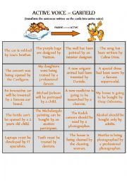 PASSIVE voice to ACTIVE voice - CARDS for GARFIELD DIE