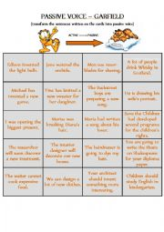 ACTIVE voice to PASSIVE voice - CARDS for GARFIELD DIE