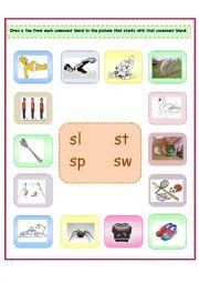 english worksheets 4 consonant blends sl st sp sw. Black Bedroom Furniture Sets. Home Design Ideas